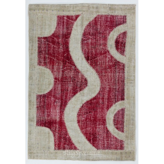 Central Anatolian Patchwork Handmade Rug Made from Over-Dyed Vintage Carpets
