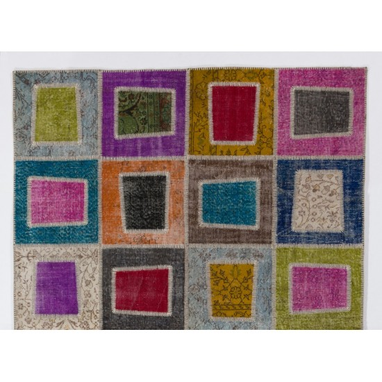 Multicolor Geometric Handmade Patchwork Rug Made from Over-Dyed Vintage Carpets