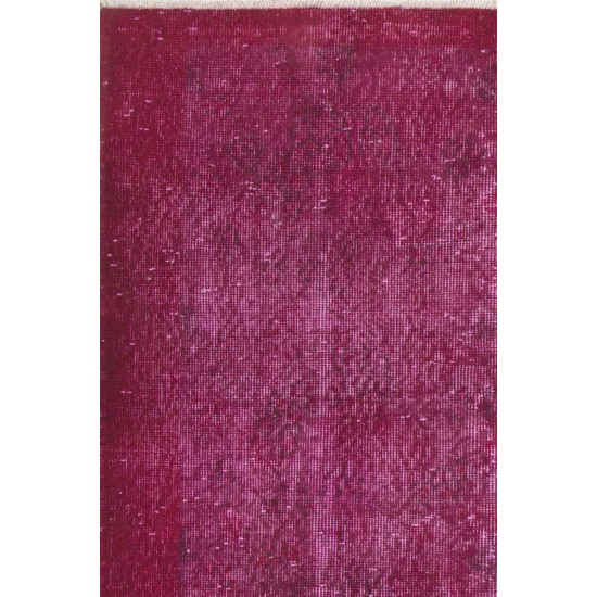 Abstract, Distressed Vintage Handmade Central Anatolian Accent Rug Over-dyed in Pink Color. Very Good Condition