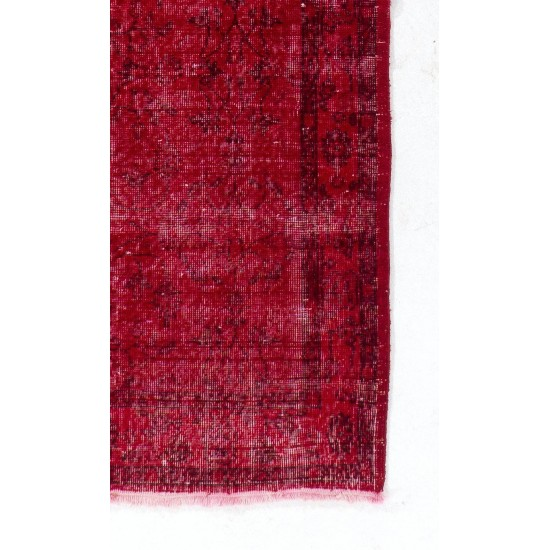 Vintage Handmade Anatolian Rug Over-dyed in Red Color for Modern Interiors