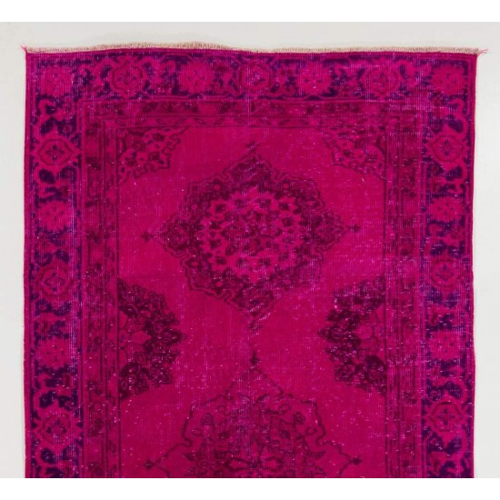 Vintage Sille Runner Overdyed in Fuchsia Pink Color
