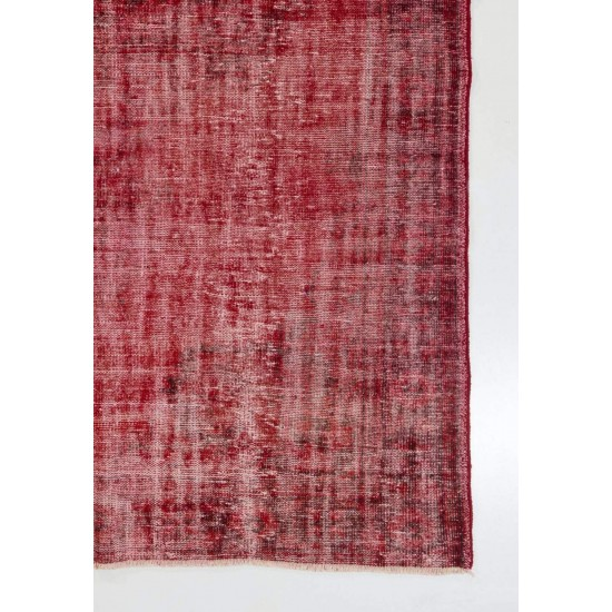 Red Color Over-dyed Distressed Vintage Handmade Turkish Area Rug