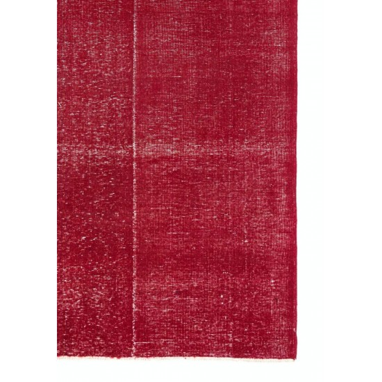 Distressed Vintage Handmade Anatolian Rug Over-dyed in Red Color