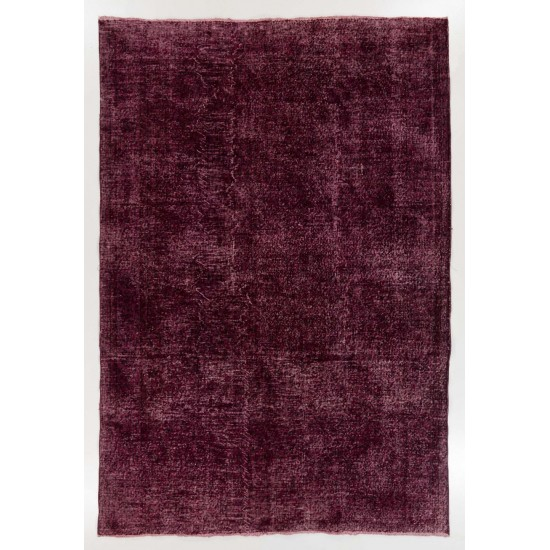 Abstract, Distressed Vintage Handmade Anatolian Rug Over-dyed in Maroon Red Color