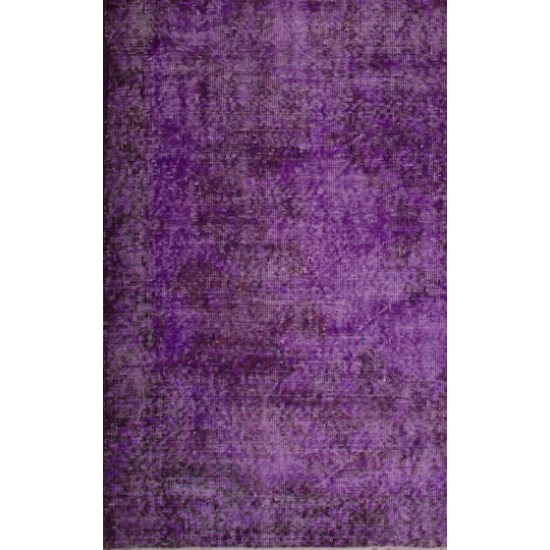 Abstract Vintage Handmade Turkish Rug Over-dyed in Purple Color