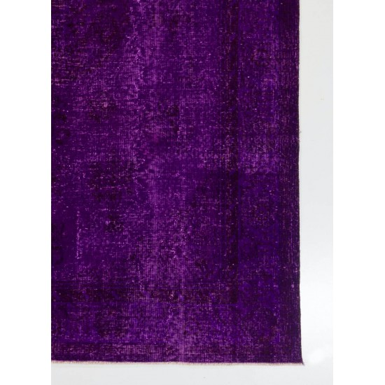 1960s Turkish Rug Overdyed in Purple Color. Great for Contemporary Interiors