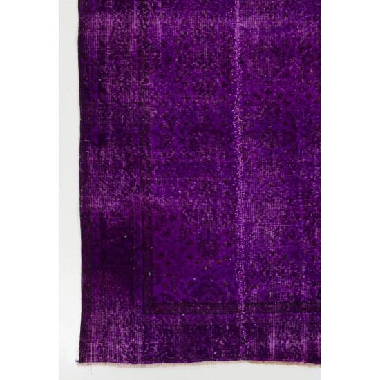 Vintage Handmade Turkish Rug Over-dyed in Purple Color for Modern Interiors