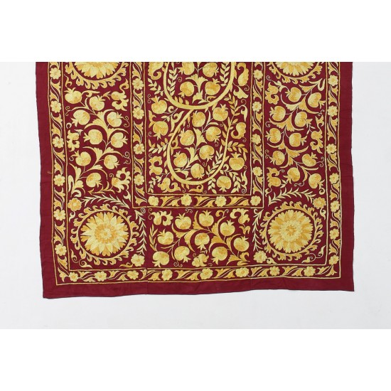 100% Silk - Central Asian Suzani Textile. Embroidered Bed Cover, Wall Hanging