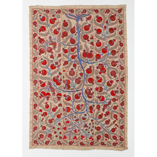Central Asian Suzani Textile, Embroidered Cotton and Silk Bed Cover