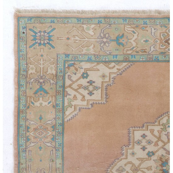 One of a Kind Vintage Oushak Area Rug. Hand-Knotted Turkish Wool Carpet