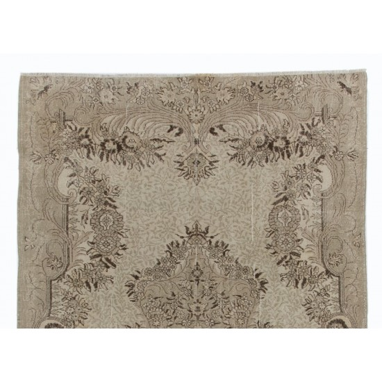 1950s Hand-Knotted Turkish Oushak Area Rug