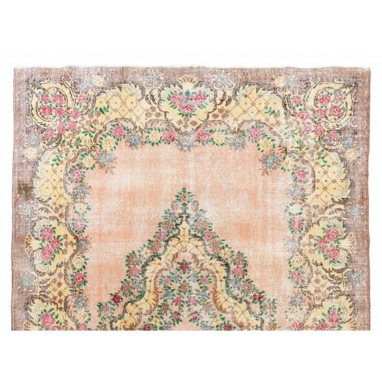 Distressed Vintage Floral Ghiordes Rug