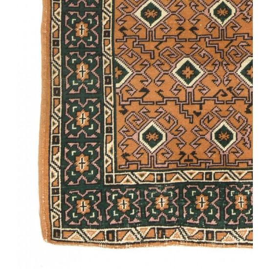 Mid-Century Handmade Central Anatolian Area Rug with Geometric Design. Vintage Wool Carpet
