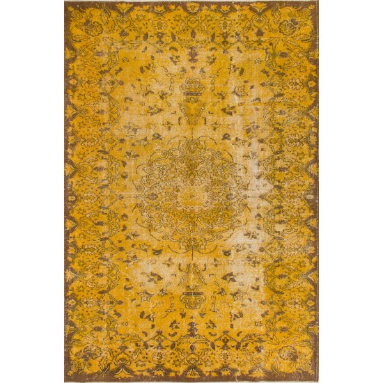 Medallian Design, Vintage Turkish Rug Over-dyed in Yellow Color