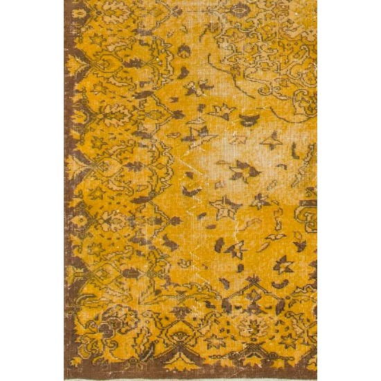 Vintage Turkish Rug Over-dyed in Yellow Color with Medallion Design