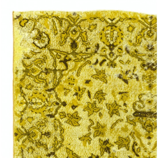 Vintage Hand-knotted Wool Rug OverDyed in Yellow for Modern Interiors