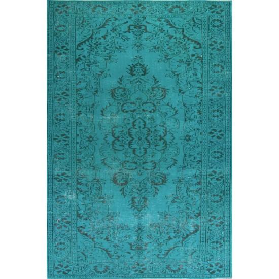 Aqua Blue Teal color OVERDYED Handmade Vintage Turkish RUG